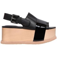 Jeffrey Campbell Women 70mm Patent & Leather Platform Sandals ($220) ❤ liked on Polyvore featuring shoes, sandals, black, high heel platform shoes, high heeled footwear, wooden heel sandals, high heel platform sandals and black platform shoes