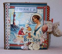 Graphic 45 BY THE SEA 8 X 8 mini paperbag album 12 PAGES #Graphic45