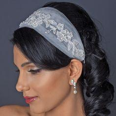 Ivory Tulle and Lace Ribbon Wedding Headband - Affordable Elegance Bridal