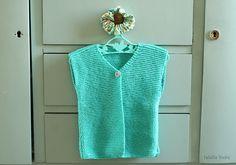 Fafaille Studio⋆Son gilet berger vert menthe  // knit a mint vest shepherd