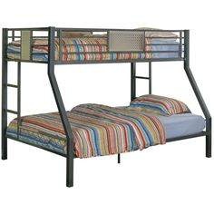 Powell Monster Charcoal Twin Over Full Bunk Bed ($818) ❤ liked on Polyvore featuring home, children's room and children's furniture