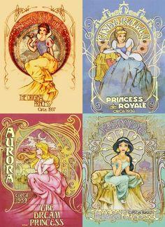 disney princesses snow-white cinderella aurora jasmine art nouveau