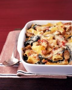 Two dinners in one: this recipe makes two pans of pasta. Serve one tonight, and keep the other in the freezer for up to three months.Get the Baked Pasta with Chicken Sausage Recipe