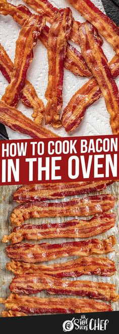 How to Cook Bacon in the Oven - - How to Cook Bacon in the Oven PORK Everyone loves oven cooked bacon! It is just as crispy and delicious as in a frying pan, without the mess! Once you try it, you'll be converted for life! Oven Cooked Bacon, Bacon In The Oven, Cooking Bacon, Oven Cooking, Cooking Recipes, Cooking Food, Cooking Rhubarb, Cooking Kids, Cooking Cake