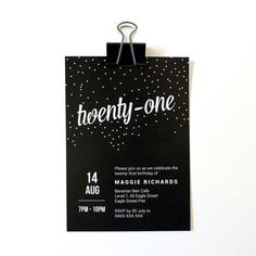 Printable Classy Black 21st (Twenty-first) Invitation - Customisable & Personalised by Madeline Hay Designs