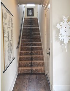 Antelope carpet up the stairs. My Interior Life: Where the Antelope Play Entry Stairs, Entry Hallway, Entryway, Foyer, Basement Stairs, Front Stairs, Basement Ideas, Hallway Ideas, Front Doors