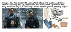"""Imagine You Are Grocery Shopping With Steve And Bucky. And Some Perv Is Touching You Up, Both Steve And Bucky Walk Up Behind The Guy And You Say ""Oh I'm sorry I don't believe you've met my boys."""" by alyssaclair-winchester ❤ liked on Polyvore featuring American Eagle Outfitters, J.Crew, maurices, MICHAEL Michael Kors and Givenchy"