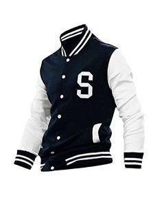 Allegra K Men Long Sleeves Button Front Letters Varsity Jacket * Check this awesome product by going to the link at the image.