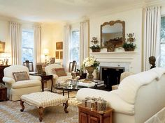 Cream living room with ottoman