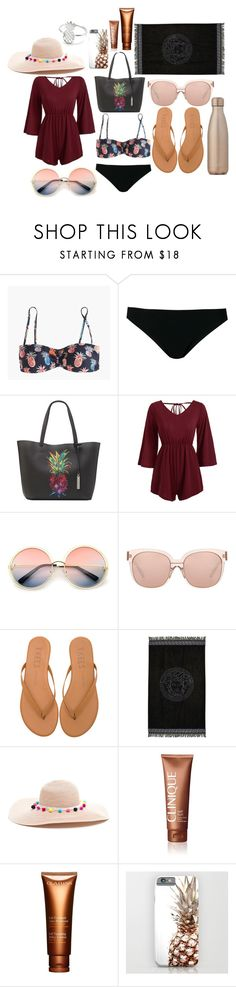 """It's still winter, but . . . . Who doesn't like pineapple?"" by meinersk45195 ❤ liked on Polyvore featuring J.Crew, Rick Owens, Vince Camuto, WithChic, ZeroUV, Linda Farrow, Tkees, Versace, Clinique and Clarins"