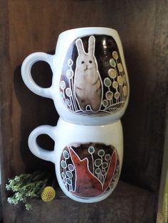 """Кружки и чашки ручной работы. Ярмарка Мастеров - ручная работа. Купить Кружка""""Лисы - зайцы 2"""". Handmade. Рыжий, лиса, фаянс"""