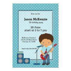Rock Star birthday party Card