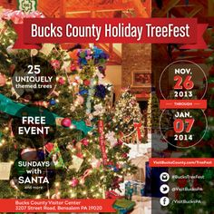Celebrate the holiday season at the 8th Annual #BucksCounty Holiday TreeFest at the Bucks County Visitor Center in Bensalem through January 7, 2014. Click the graphic for more details.