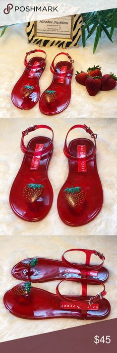90cebe2f9147 Katy Perry The Geli Fruit Sandals Fruit details and scents create the fun  prong-toe