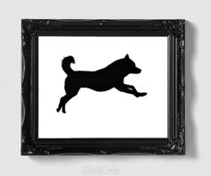 Siberian Husky Silhouette - Hand-cut Original Dog Art Mounted on Watercolor Paper