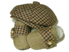 Baby Boy Shoes and Hat, Jack Ryan Set, Houndstooth and Linen. Newsboy, Sporty, Handmade Baby Boys Shoes and Hats.