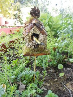 Birdhouse-Fairy Garden Birdnest/Birdhouse-OOAK-Fairy Garden/Terrarium/Doll house-Polymer Clay Bird and Eggs/Lichen/Moss/Pinecones by Hittsonhouse on Etsy https://www.etsy.com/listing/222531240/birdhouse-fairy-garden-birdnestbirdhouse