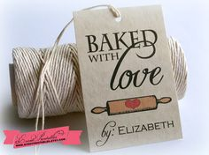 Baked With Love Printable Gift Tags, DIY Vintage Christmas Tags, Custom Baking Food Favors, Cookie Exchange Tags by Event Printables