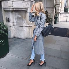 Grey wrap coat, Chanel boy, strap sandal heels