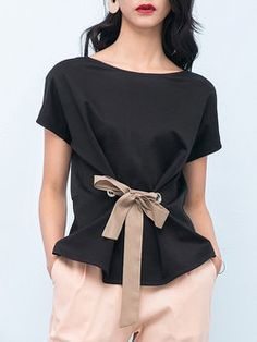 Black Spandex Bow Floral Work Blouse