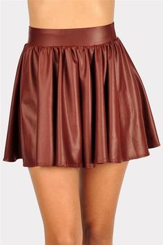 #Necessary Clothing       #Skirt                    #Skater #Girl #Leather #Mini #Skirt #Burgundy       Skater Girl Leather Mini Skirt - Burgundy                                     http://www.seapai.com/product.aspx?PID=9253