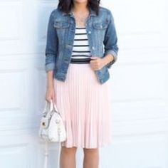 Get this super cute blush pink pleated skirt! Brand new with tags! Blush pink skirt with elastic waist. Pair it with a thick belt and denim jacket! Skirts