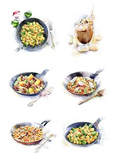 Watercolor food illustrations for  campus-cooking.tumblr.com