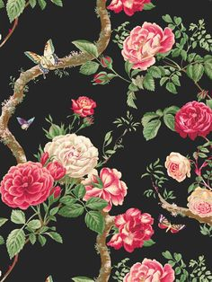 Ravenglass Wallpaper | Chatsworth | AmericanBlinds.com #pink #rose #black #floral