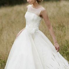 Demure Illusion Neckline Tea Length Dress With Floral Detail - June Bridals