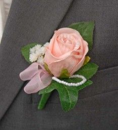 Grooms Single Powder Pink Foam Rose Wedding Buttonhole with Pearls and Gypsophila