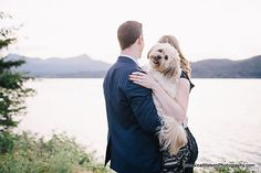Engagement session in the Oregon Gorge with couple's dog. by Jessica Watson Photography