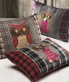 Tweed owl design cushion cover 35 X > Sale Cushions & Cushion Covers > Sale Soft Furnishings > Sale > Namaste Fair Trade > Namaste-UK Ltd Applique Cushions, Sewing Pillows, Patchwork Cushion, Wool Applique, Fall Pillows, Diy Pillows, Decorative Pillows, Cushion Cover Designs, Cushion Covers