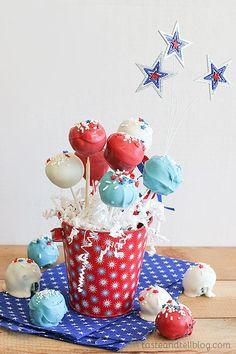Red and Blue Velvet Cake Pops {4th of July Week} FoodBlogs.com