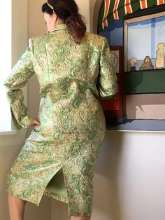 Beautiful Vintage Chanel Silk Evening Suit - Rare Brocade Paisley Gold and Green - Like New Original Owner - Blazer & Skirt Size 6-8 by ExhibitADiscoveries on Etsy https://www.etsy.com/listing/481916693/beautiful-vintage-chanel-silk-evening