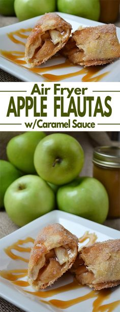 Simple Apple Pie Flautas Recipe - Tender apple slices and sweet cinnamon wrapped in a flour tortilla, fried to crispy perfection in an air fryer and then drizzled with a delicious homemade caramel sauce. Tortilla Dessert, Air Fryer Recipes Dessert, Air Fryer Recipes Easy, Fried Apple Pies, Fried Apples, Recipes With Flour Tortillas, Tortilla Recipes, Homemade Apple Pie Filling, Air Frier Recipes