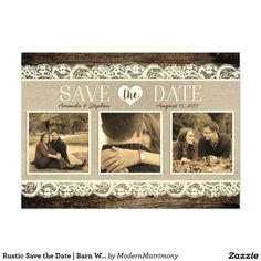 The perfect rustic wedding save the date card combining barn wood, lace, & burlap.  #savethedate #rusticwedding @zazzle