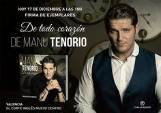 Manu Tenorio firmará ejemplares  'DE TODO CORAZÓN' en Valencia