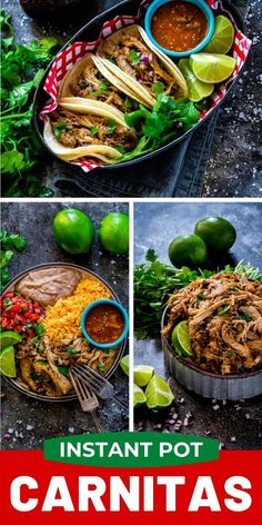 Instant Pot carnitas are easy to make. Enjoy carnitas tacos Taco Tuesday and Cinco de Mayo. This easy dinner recipe is also ideal Game Day food for a football party. Add this Mexican pulled pork recipe to your weekly meal rotation. Pork Recipes, Fall Recipes, Easy Dinner Recipes, Appetizer Recipes, Easy Meals, Cooking Recipes, Quick Recipes, Delicious Recipes, Crockpot Recipes