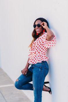 top southern fashion bloggers, goodotmicha, black fashion bloggers, lip print top, asos, target style, baublebar,