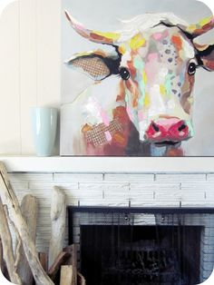 I love the brush strokes on the cow painting. Need to work on my own art. ASAP other pinner comments: My House of Giggles: Living Room Refresh (a DIY Kilim / Aztec Rug and an abstract Cow Painting) Diy Kilim, Painting Inspiration, Art Inspo, Frida Art, Aztec Rug, Cow Art, Deco Design, Animal Paintings, Art Projects
