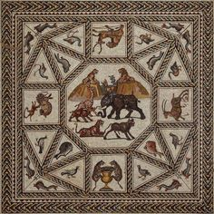 VIDEO and IMAGES - The Roman mosaic from Lod, Israel was discovered in 1996 during highway construction in Lod (formerly Lydda). A rescue excavation was immediately conducted by the Israel Antiquities Authority, revealing a series of mosaic floors measuring approximately 50 feet long by 27 feet wide. #Roman #mosaic