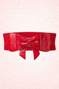 Red Elastic Cinch CHIFFON BOW Belt 8-24 Plus Size ~ High Waist Rockabilly