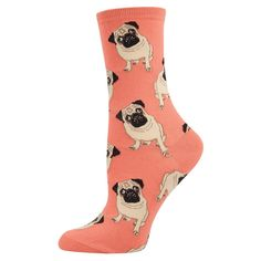 Adorable little dogs adorn these socks! Available in either peach or blue. Great for dog lovers! One Size ( W 6-10 / M 3-8 ) 66% Cotton, 32% Nylon, 2% Spandex Check out our FAQ page for common inquiri