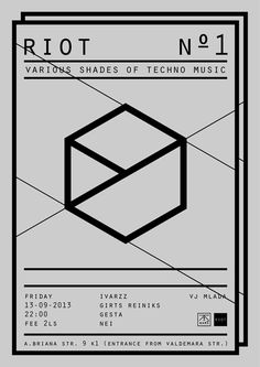 "Riot No.1 ""Various Shades of Techno Music' Poster"