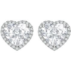 Kiki McDonough Grace Collection White Topaz and Diamond Heart Stud... ($1,195) ❤ liked on Polyvore featuring jewelry, earrings, heart earrings, stud earring set, stud earrings, white gold diamond earrings and diamond jewelry