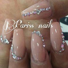 #nails #nude #blingnails #cutenails