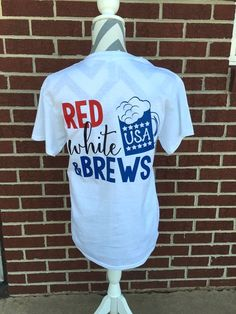 Monogrammed Red White and Brews Short Sleeve by ElleQDesigns