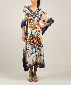 Love this Turquoise & Blue Floral Caftan - Women by Kushi by Jasko on #zulily! #zulilyfinds