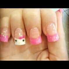 I got the hello kitty nais done but my version i perfer glitter pink tips :)
