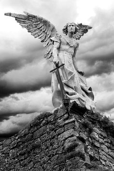 Guardian Angel, sculpture by Josep Llimona. Modernist style, around It's erected over the walls of an old ruined Gothic church in Comillas (Cantabria, España). / We Heart It on imgfave Cemetery Angels, Cemetery Art, Cemetery Monuments, Angels Among Us, Angels And Demons, Statue Ange, Sculpture Art, Sculptures, I Believe In Angels